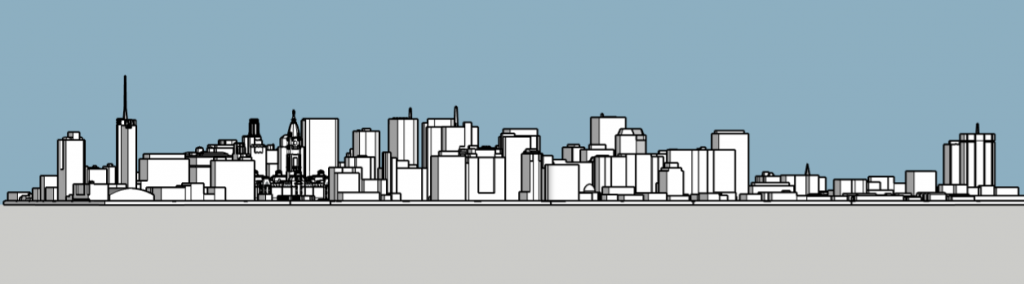 Philadelphia skyline 1985 looking south. Image and models by Thomas Koloski