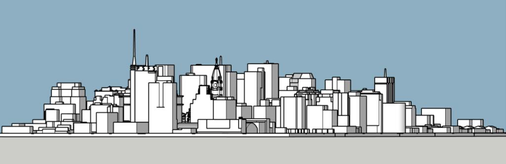 Philadelphia skyline 1985 looking west. Image and models by Thomas Koloski