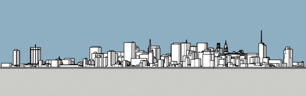 Philadelphia skyline 1985 looking northwest. Image and models by Thomas Koloski