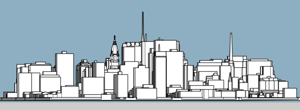 Philadelphia skyline 1975 looking east. Image and models by Thomas Koloski