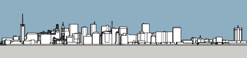 Philadelphia skyline 1975 looking south. Image and models by Thomas Koloski