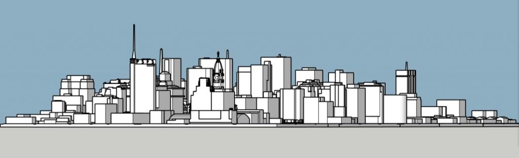 Philadelphia skyline 1975 looking southwest. Image and models by Thomas Koloski
