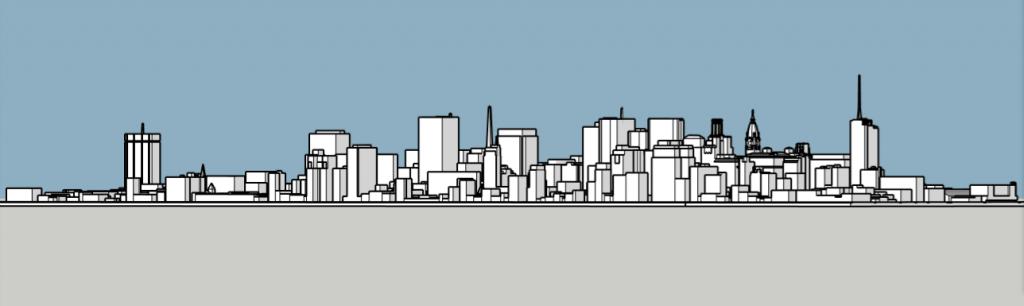 Philadelphia skyline 1975 looking northwest. Image and models by Thomas Koloski
