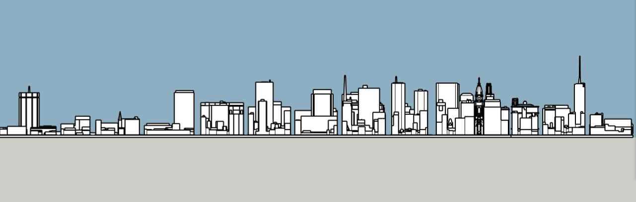 Philadelphia skyline 1975 south elevation. Image and models by Thomas Koloski