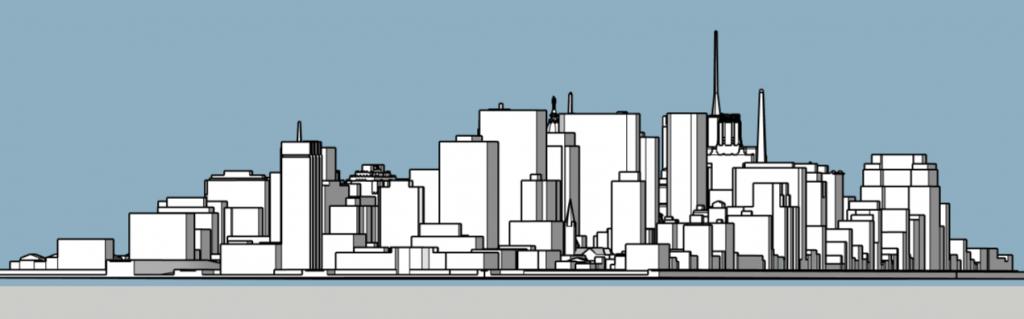 Philadelphia skyline 1975 looking northeast. Image and models by Thomas Koloski