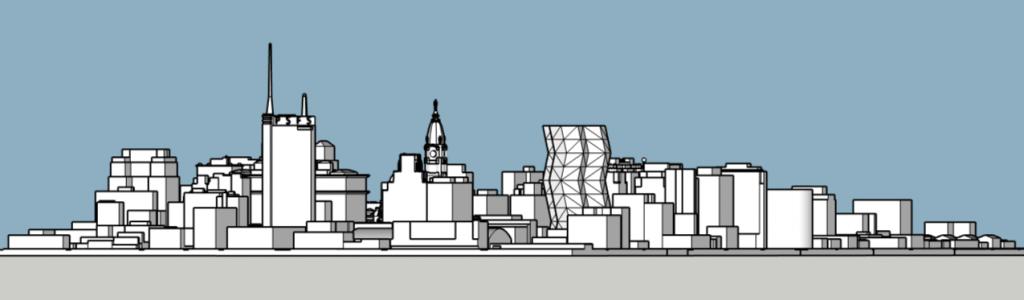 City Tower in the Philadelphia skyline looking southwest. Models and image by Thomas Koloski