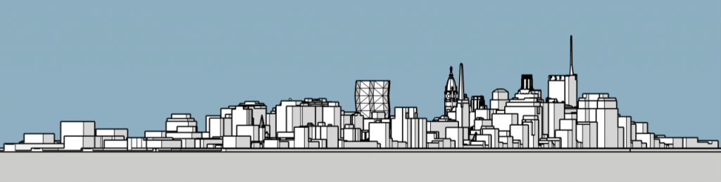 City Tower in the Philadelphia skyline looking northeast. Models and image by Thomas Koloski