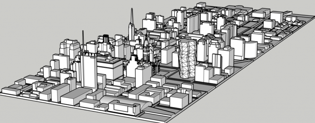 City Tower in the Philadelphia skyline aerial looking southwest. Models and image by Thomas Koloski