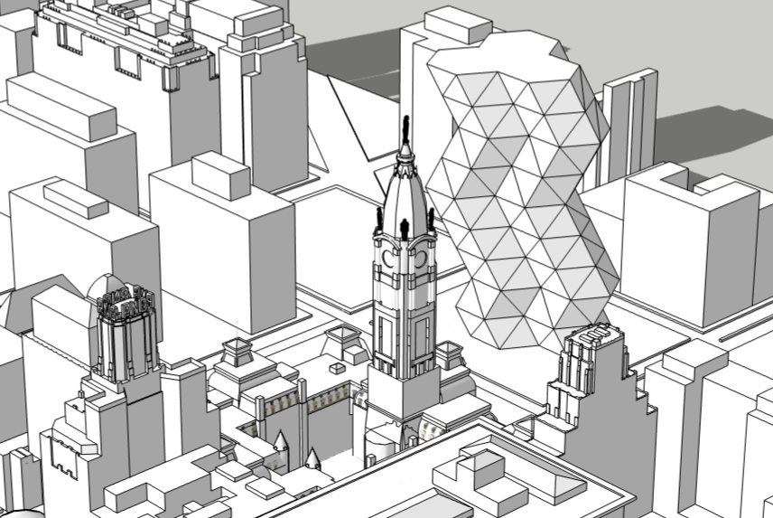 City Tower in the Philadelphia skyline aerial looking northwest. Models and image by Thomas Koloski