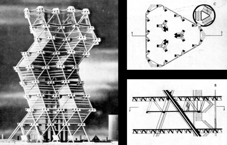 City Tower model and schematics. Images via Louis I. Kahn