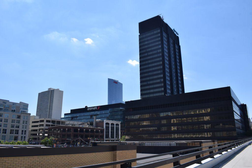 2300-2324 Market Street (left) with the PECO Building. Photo by Thomas Koloski