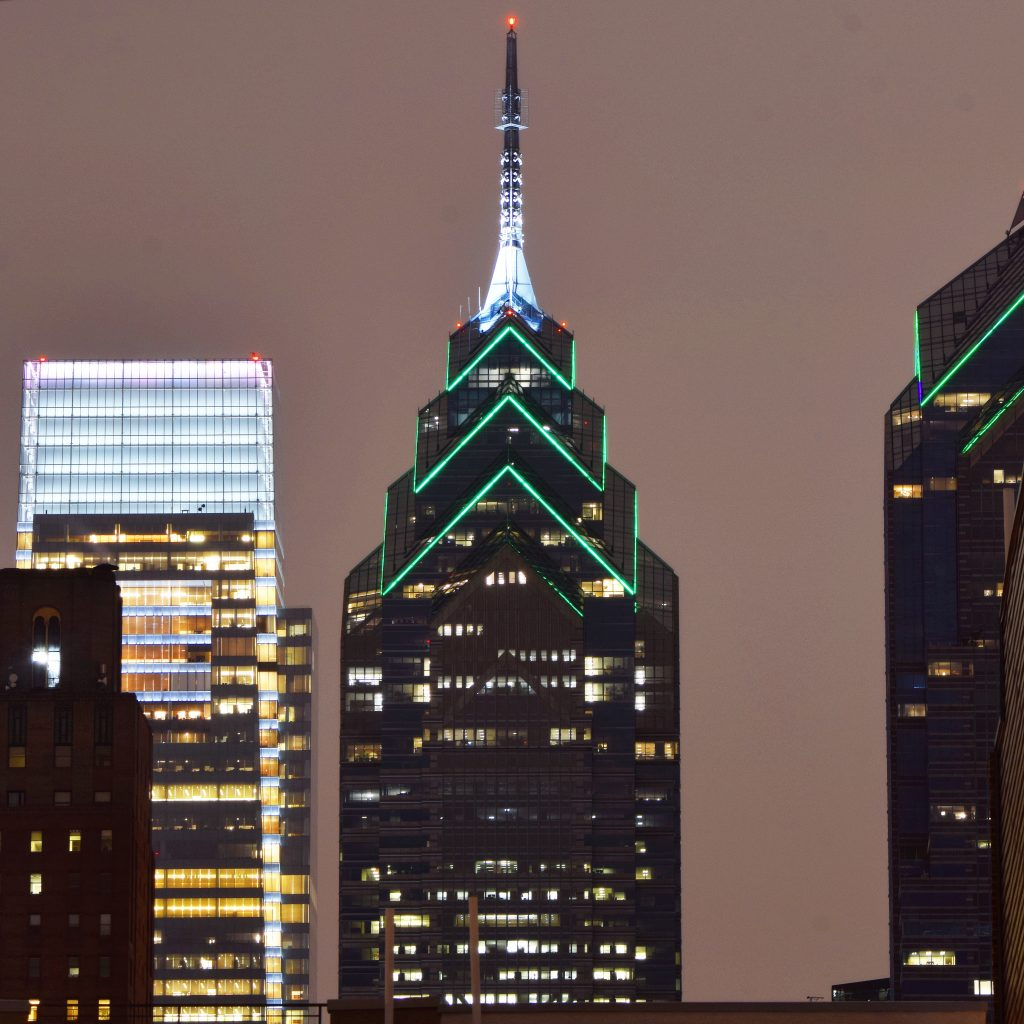 One Liberty Place with restored lighting looking north. Photo by Thomas Koloski