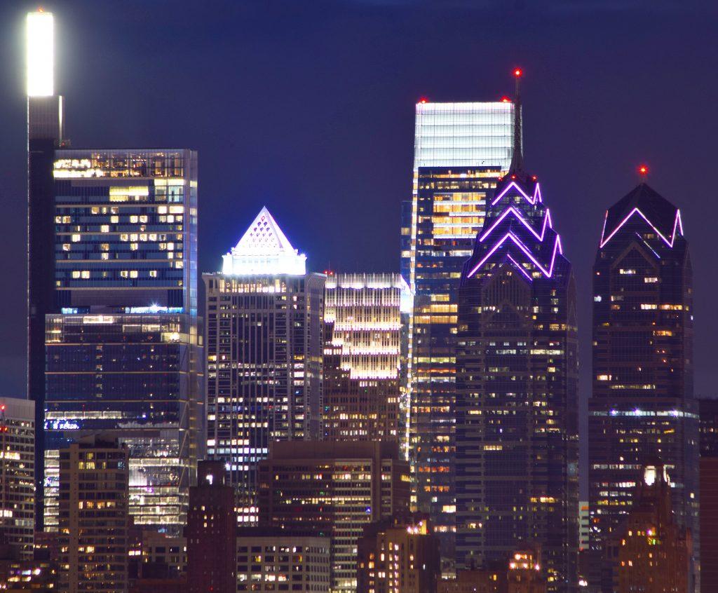 One Liberty Place with restored lighting in the Philadelphia skyline. Photo by Thomas Koloski