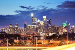 Philadelphia skyline lit up from South Philadelphia. Photo by Thomas Koloski