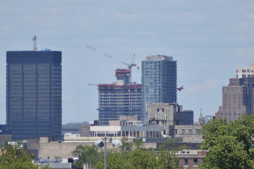 Riverwalk south and 2222 Market Street tower cranes. Photo by Thomas Koloski