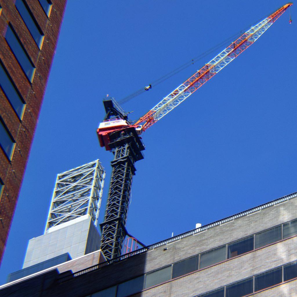 Comcast Technology Center lantern and crane. Photo by Thomas Koloski