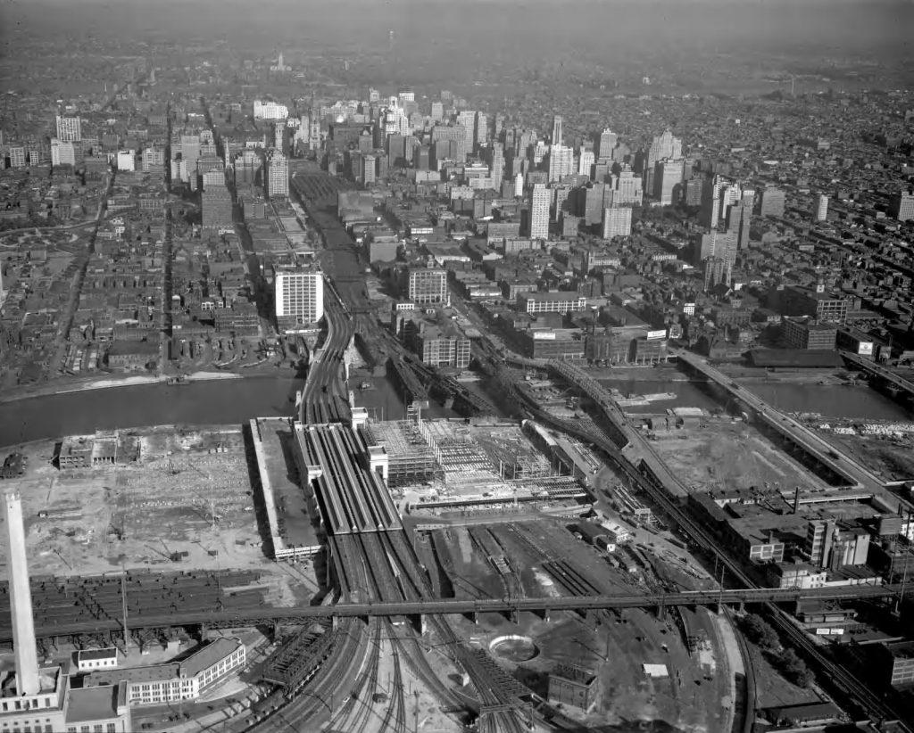 30th Street Station construction aerial. Photo via Hagley Digital Archives