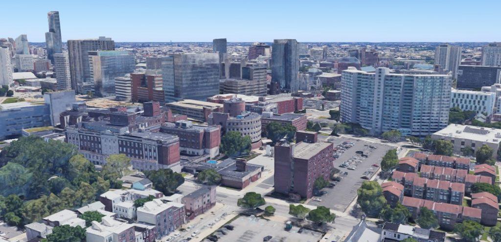 Penn Presbyterian Medical Center. Looking southeast. Credit: Google