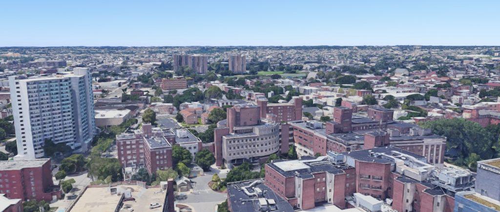 Penn Presbyterian Medical Center. Looking west. Credit: Google