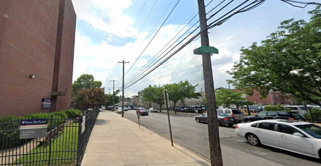 Powelton Avenue, with the 3910 Building at 3910 Powelton Avenue on the left. Looking west. Credit: Google