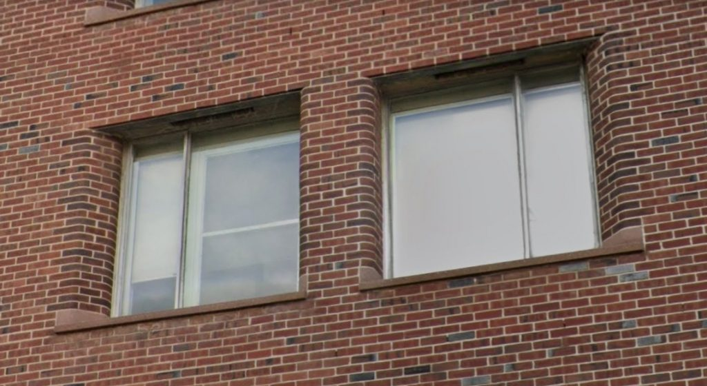 Façade detail at the 3910 Building at 3910 Powelton Avenue. Looking west. Credit: Google