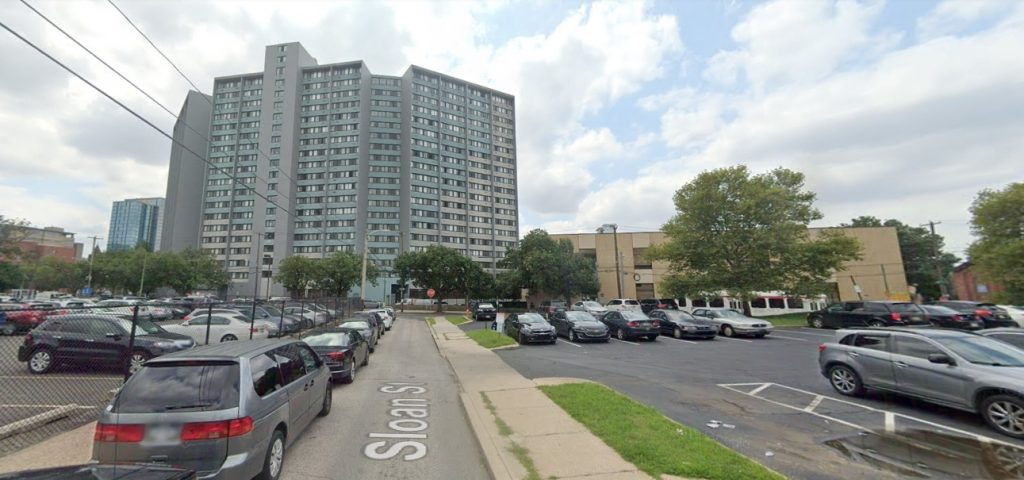 Sloan Street, with the site of the proposed facility at 3800 Powelton Avenue on the left and University Square Apartments in the center left. Credit: Google