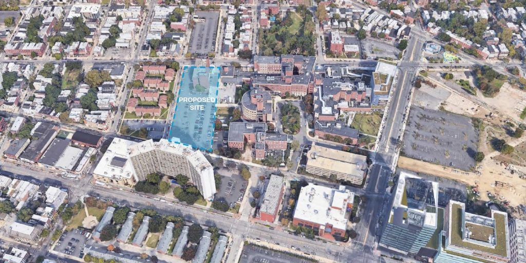 Site of the proposed facility at 3800 Powelton Avenue within its context. Looking north. Image via the Civic Design Review submission