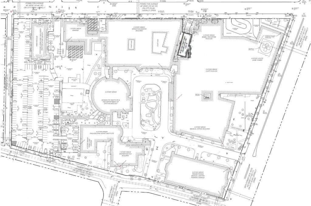 Penn Presbyterian Medical Center site plan. Image via the Civic Design Review submission