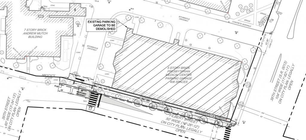 The existing garage at Filbert Street and North 38th Street. Image via the Civic Design Review submission