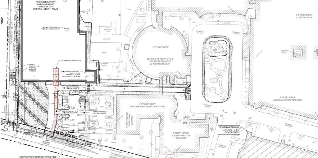 Penn Presbyterian Medical Center Parking Garage at 3800 Powelton Avenue. Site plan. Image via the Civic Design Review submission