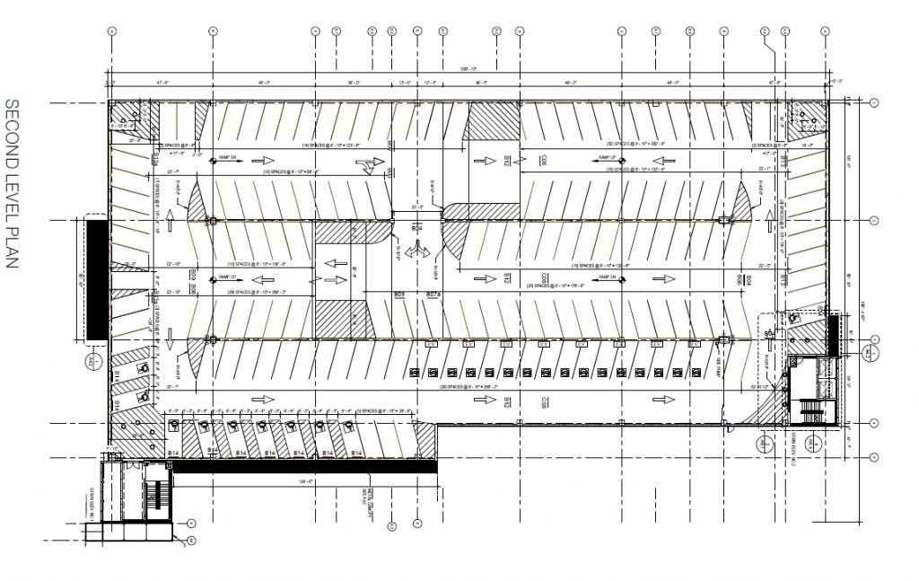 Penn Presbyterian Medical Center Parking Garage at 3800 Powelton Avenue. Second floor plan. Image via the Civic Design Review submission