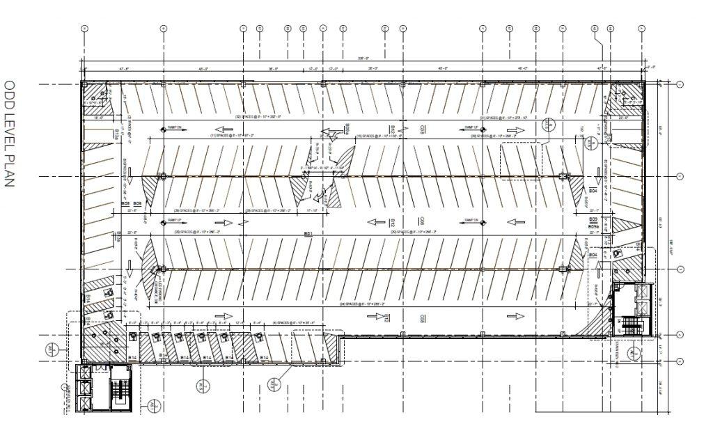 Penn Presbyterian Medical Center Parking Garage at 3800 Powelton Avenue. Odd floor plan. Image via the Civic Design Review submission