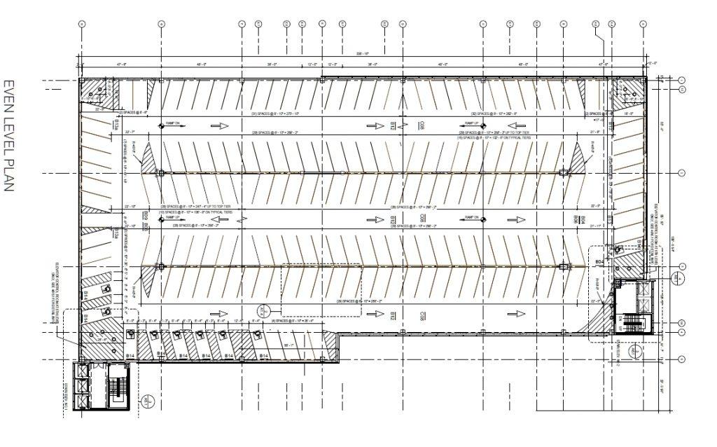 Penn Presbyterian Medical Center Parking Garage at 3800 Powelton Avenue. Even floor plan. Image via the Civic Design Review submission