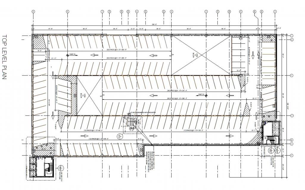 Penn Presbyterian Medical Center Parking Garage at 3800 Powelton Avenue. Top floor plan. Image via the Civic Design Review submission