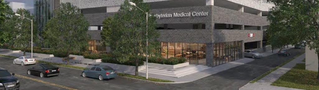 Penn Presbyterian Medical Center Parking Garage at 3800 Powelton Avenue. Retail space and plaza at Powelton Avenue. Credit: THA Consulting