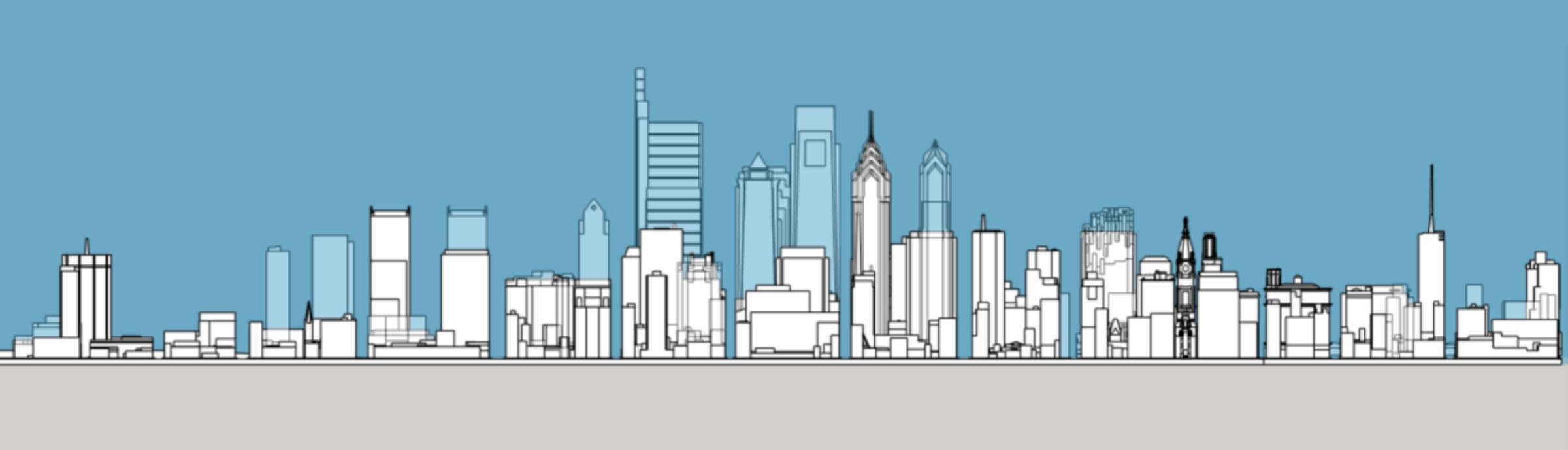 Philadelphia 1987 and 2020 south elevation. Model and image by Thomas Koloski