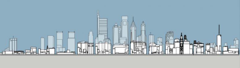Philadelphia 1965 and 2020 south elevation. Model and image by Thomas Koloski