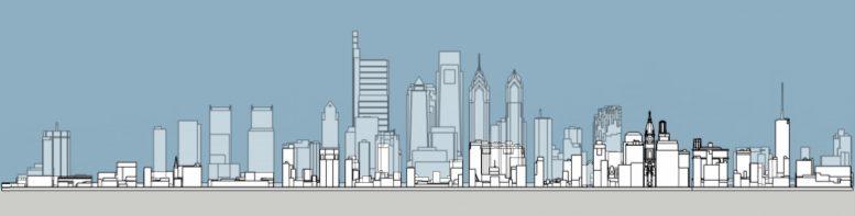 Philadelphia 1945 and 2020 south elevation. Model and image by Thomas Koloski