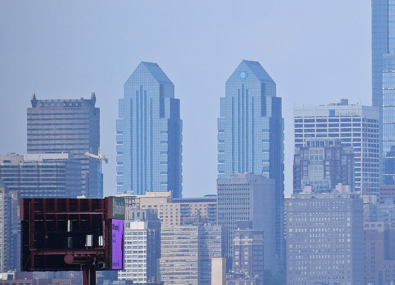 Twin Independence Blue Cross Towers. Photo and edit by Thomas Koloski