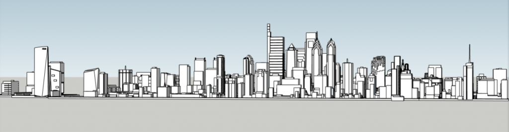 Future Philadelphia skyline looking north. Models and image by Thomas Koloski