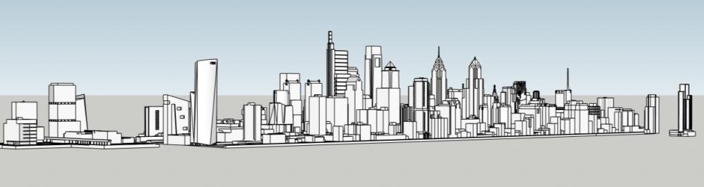Future Philadelphia skyline looking northeast. Models and image by Thomas Koloski