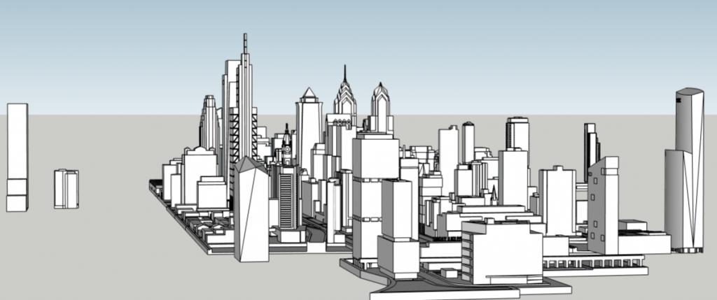 Future Philadelphia skyline looking east. Models and image by Thomas Koloski