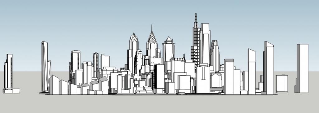 Future Philadelphia skyline looking west. Models and image by Thomas Koloski