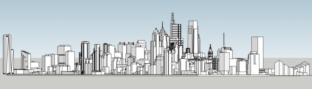 Future Philadelphia skyline looking northwest. Models and image by Thomas Koloski