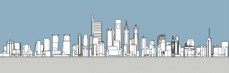 Future Philadelphia skyline south elevation. Models and image by Thomas Koloski