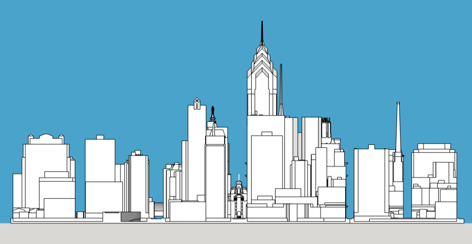 Philadelphia 1987 west elevation. Model and image by Thomas Koloski