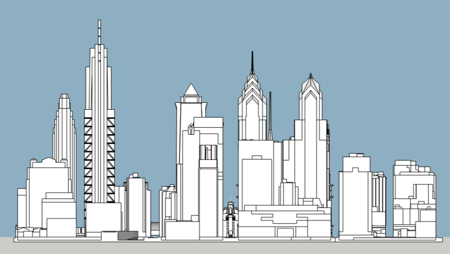 Philadelphia 2020 east elevation. Model and image by Thomas Koloski