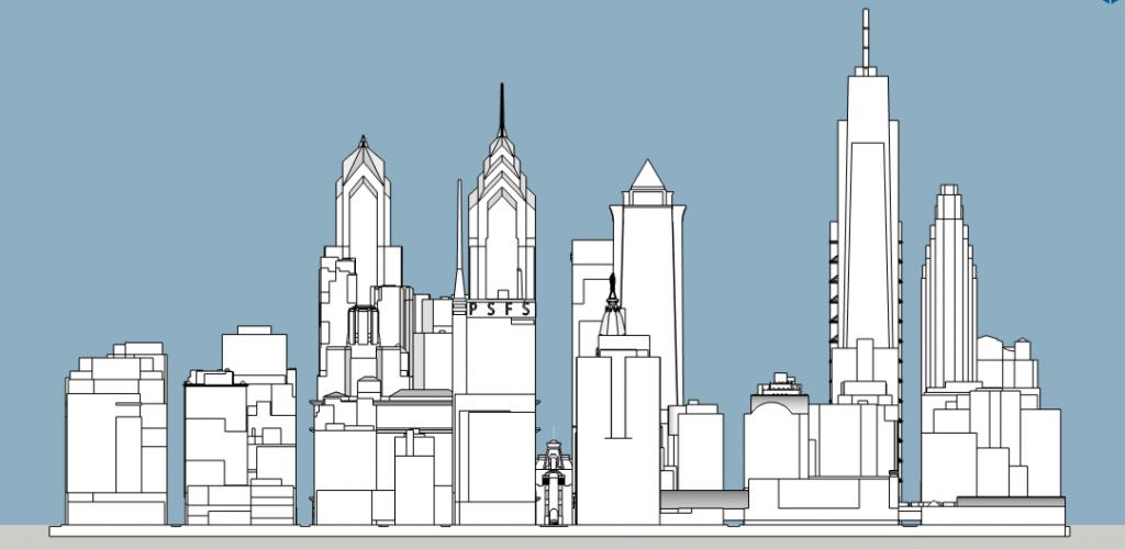 Philadelphia 2020 west elevation. Model and image by Thomas Koloski