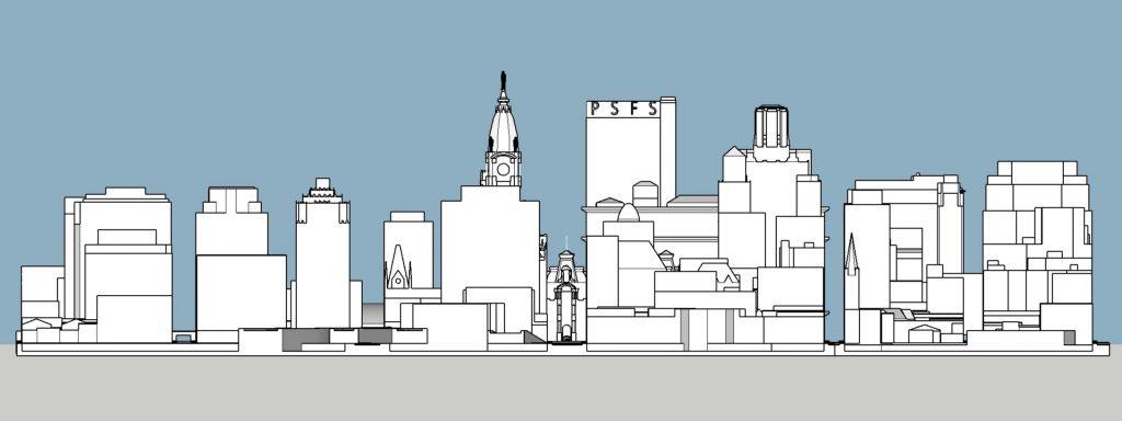 Philadelphia 1945 west elevation. Model and image by Thomas Koloski