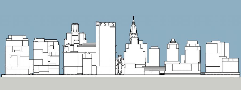 Philadelphia 1945 east elevation. Model and image by Thomas Koloski